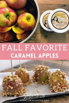 Visit here to see these Healthy Caramel Covered Apples on Stroller in the City! If you are looking for healthy caramel dip for apples, then this is for you. Get inspired to make these amazing homemade healthy caramel apples. You will absolutely love this healthy caramel apple dessert as well. Be sure to make these delicious caramel apples recipe. These are really some of the best fall desserts you will make. There's nothing like a caramel apple in the fall. #dessert #apples #caramel