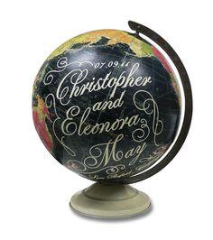 Custom Wedding or Anniversary Globe. Chalk board globe.
