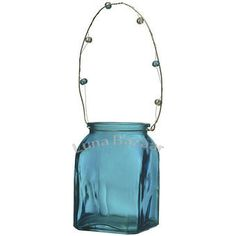 Turquoise Blue SQUARE Vintage Glass Votive Holder & Vase.  Glass dimensions: 3 x 3 inches x 4.5 inches high. Playfully painted vessels. Glass with beaded handles. Can be hung or placed on flat surface. Perfect for weddings! For use with flowers, votives, or tealight candles.