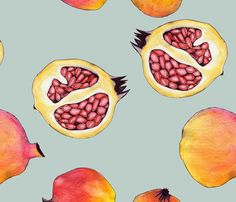pomegranate fabric by Marina Molares on Spoonflower - custom fabric