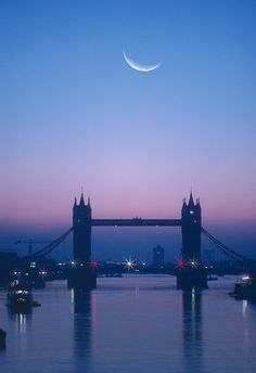 England, London, Moon Rising Over River Thames (digital Composite) Photograph
