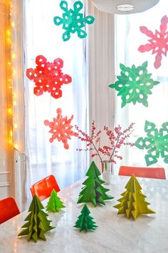 Painted Newspaper Snowflake Holiday Decor
