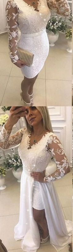 Fashion Lace & Chiffon V-neck Neckline Long Sleeves 2 In 1 Prom Dress With Beaded Lace Homecoming Dresses, Sexy Dresses, Girls Dresses, Flower Girl Dresses, Bridesmaid Dresses, Formal Dresses, Wedding Dresses, Cocktail Dresses, Dress Collection
