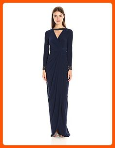 Adrianna Papell Women's Long Sleeve Rouched Jersey Gown with Beaded Cuffs, Midnight, 2 - All about women (*Amazon Partner-Link)