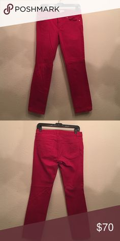 Tory Burch Red Jeans. Tory Burch Cropped Skinny Jean in Red size 27 Tory Burch Jeans Ankle & Cropped