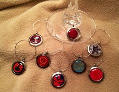 Outlander themed wine charm set (8)! Perfect for your book club or STARZ viewing party - by DesignsByDodie, $24.00