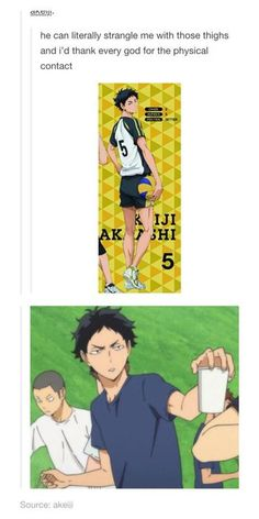HAIKYUU - he handing you some holy water Daisuga, Nishinoya, Kuroken, Bokuaka, Kagehina, Haikyuu Akaashi, Oikawa, Got Anime, Anime Love