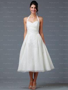 A-line Halter Organza Tea-length Draping White Wedding Dresses