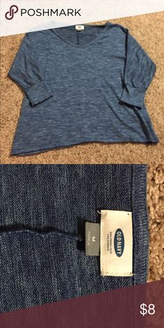 Blue sweater Light weight blue sweater. Sheer style material. Not completely see through but you can see outline of your bra through it. 3/4 sleeve. Old Navy Tops Blouses