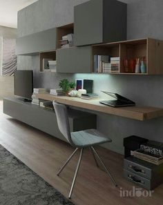 +/- 4000 Euro … Orme TV cabinet with tablet that can run against the wall steps. +/- 4000 Euro (in this version) Small Space Interior Design, Modern Bedroom Design, Home Office Design, Home Office Decor, Room Interior, Interior Design Living Room, Living Room Designs, Living Room Tv, Home And Living