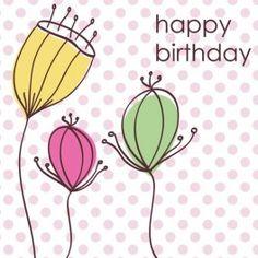 """Fairtrade verjaardagskaart met drie fleurige bloemen en de tekst """"Happy Birthday""""  Geproduceerd door Craft Aid op Mauritius volgens de fairtrade normen. Craft Aid biedt werkgelegenheid aan 223 medewerkers, waaronder vele gehandicapten.  Witte achtergrond met paarse stippen en drie bloemen van frisse kleuren  Met envelop"""