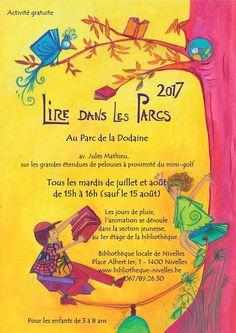 """""""Lire dans les parcs""""avec la Bibliothèque publique locale de Nivelles - Cet été encore, durant les mois de juillet et d'août, les livres descendront dans le parc de la Dodaine pour offrir le plaisir de la lecture vivante aux enfants et à leurs accompagnants. Les jours de pluie, l'animation se déroulera au 1er étage de la bibliothèque."""