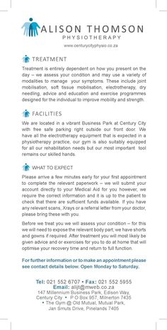 www.centuricityphysio.co.za Alison Thomson Physiotheraphy Flyer Page 2  Paying it forward printed by. www.printondemand.co.za Cape Town Printers