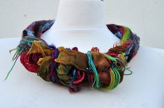 Felt necklace / collar, felt, nunofelt, felted, silk, wool, fibre art, gift. $46.00, via Etsy.