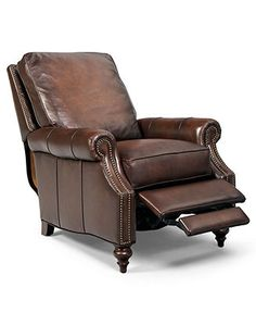 Madigan Leather Recliner Chair, 32.75W x 38.5D x 39H - Living Room Furniture - furniture - Macy's