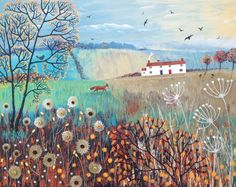 NEW WORK FOR SALE Title: Across Autumn Fields Size: 50 x 40cms on a box canvas. Media: Jo Sonja acrylic paint, paper, PVA glue, beads and sequins  Just comment on here or message me on Facebook for price and more details.