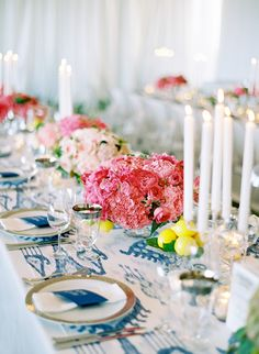 Blue and white ikat, peonies, and lemons...this is amazing!