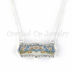 Broken China Jewelry Broken China Necklace by CrackedUpJewelry, $48.00. A loveley scallop shape broken china necklace. This pretty floral china was made using the edge of a beautiiful plate circa:1945-1952. An elegant & feminine one of a kind broken china necklace.
