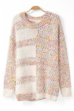 Color Block Mohair O-neck Long Sleeves Sweater