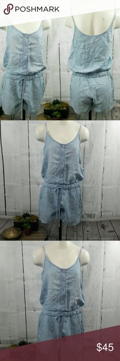 Anthropologie Cloth and Stone Chambray romper Size small  EUC Anthropologie Pants Jumpsuits & Rompers