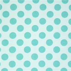turquoise Michael Miller fabric Ta Dot with green dots