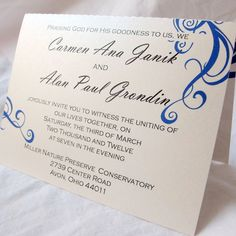 Love the wording and the design  Royal Blue & White Simple All in One Wedding Invitation - (7). $2.50, via Etsy.