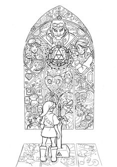 zelda coloring page link master sword from ocarina of time - Zelda Coloring Pages