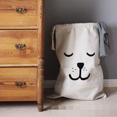 INS Europe bobochoses children room The bear's face batman letter Striped Toys household receive canvas bag sacks