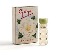 A 1950s 'Gardenia' perfume by Goya, English, based in Piccadilly (Est. 1936 and in business until 1960s), affordable perfume sold in chemists, ' Gardenia' bottles come with a different number of rings - people collect the different ring numbers. c1952