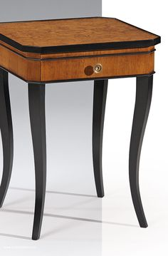 Biedermeier style square wood table with ash burl top; accent tables; living room furniture ideas