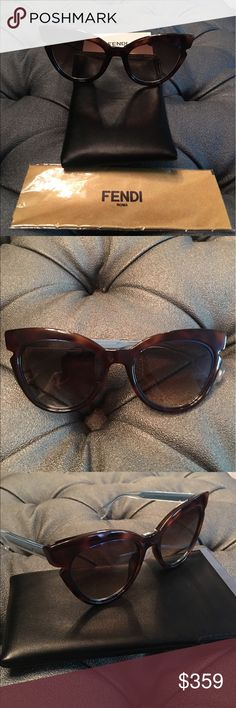 Fendi lines cat eye sunglasses 👓 Brand new Fendi Lines FF 0132/S Sunglasses in Brown/Blue.  Featuring a havana brown cutout cat eye frame with blue legs and a metallic blue metal inlay in lens. Size 51 Gradient brown Opytl lenses.  Comes with Fendi pouch, cleaning cloth, and authenticity card. Fendi Accessories Sunglasses