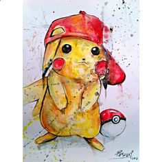 Pikachu Pokemon Video Game Character Watercolor 11 x 14. Bought for Jaxens room!