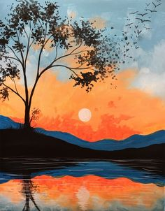 There's nothing like a peaceful sunset on the lake! Come paint Crystal Lake … - PAINTING Sunrise Painting, Lake Painting, Easy Canvas Painting, Moon Painting, Simple Acrylic Paintings, Canvas Art, Painting Art, Lighthouse Painting, Orange Painting