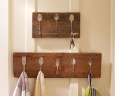 Proudly display some culinary history while keeping your kitchen neat. A small company in Georgia handcrafts these imaginative kitchen racks using reclaimed vintage silverware and century-old barnwood. Each unique flatware piece is hammered flat, then mounted with curled handles to hang your towels, aprons, hats and keys.   repinned by www.silver-and-grey.com