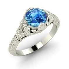 Round Blue Topaz  Vintage Engagement Ring in Sterling Silver