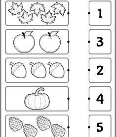 Kindergarten worksheets - Count and match Preschool Writing, Numbers Preschool, Free Preschool, Preschool Learning, Preschool Activity Sheets, Printable Preschool Worksheets, Kindergarten Math Worksheets, Worksheets For Kids, Math Activities
