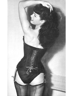 Betty Page #corset Love pinups, Love Vintage clothing and Underwear, Love fishnet stockings and corsets and Love me some Betty Page. In another life....