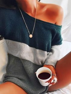 Causal One Shoulder Knitted Loose Sweater