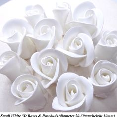 Busy times at Purple Butterfly HQ! Newly launched are these small 3D #roses & #rosebuds. These would complement our larger roses or could be used on their own on smaller cakes and cupcakes. And while these are in beautiful fresh white hey can be finished in any of Vanessa's cornucopia of colours. On the #eBay shop now. - - - - - #cake #cupcakes #cakedecorating #cakedesign #weddingideas #weddingcake #smallbusiness #womeninbusiness #handmade #sugarcraft #sugarart