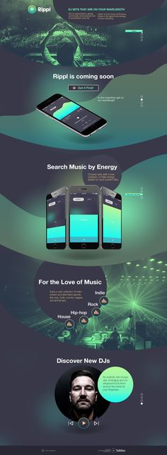 Promo Landing page for coming soon music Mobile App Rippl. Ordered by famous DJ Vikas Sapra Landing page / web design / graphic design / promo page / mobile App