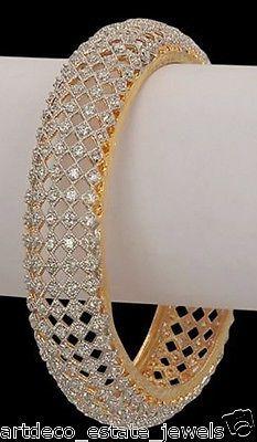 GORGEOUS !! 22.45ct ROUND DIAMOND 14k GOLD WEDDING BANGLE