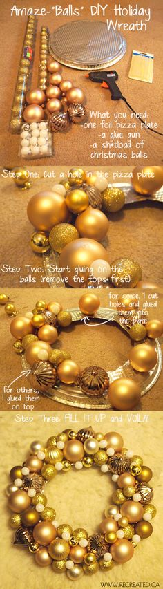 Essential Christmas Hacks, Tips, And Tricks To Help You Survive The Holidays Wreath DIY - simple project made with a pie tin and inexpensive Christmas balls.Wreath DIY - simple project made with a pie tin and inexpensive Christmas balls. Christmas Hacks, Noel Christmas, Christmas Projects, Winter Christmas, Christmas Ornaments, Homemade Christmas, Family Christmas, Simple Christmas, Christmas Recipes