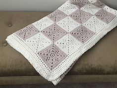 Arielle's Square Blanket Pattern Crochet pattern by Deborah O'Leary Square Blanket, Afghan Blanket, Universal Yarn, Baby Scarf, Christmas Knitting Patterns, Crochet Blanket Patterns, Crochet Squares, Crochet Stitches, Dk Weight Yarn