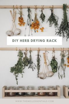 hanging herb gardens Learn how to dry your own herbs with this simple wooden herb drying rack. The perfect homemade drying rack for herbs from your summer garden harvest. Herb Drying Racks, Drying Herbs, Herb Rack, Hanging Herbs, Pot Rack Hanging, Diy Hanging, Hanging Planters, Ideias Diy, Herb Garden