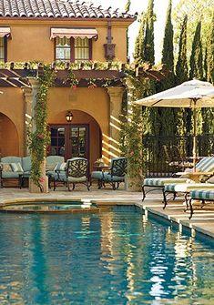 Tuscan poolside decor