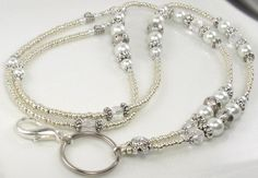 Beaded Lanyard ANTIQUE PEARL ID Badge Holder by curlynetto on Etsy, $21.99