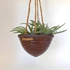 Ceramic Hanging Planter  Rustic Indoor Planter  Wheel by ZozPots