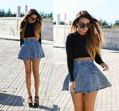 Ivy Supply Denim Circle Skirt, Unif Fever Platforms - CROP CIRCLES - LA From LA's blog