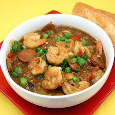 Louisiana's Cajun and Creole country brings us Gumbo, a stew that exists in hundreds of versions and often entails seafood.