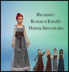 3 ½ recolors of Kiara24s medieval dress for girls. the ½ is the one dress that is has a darker under dress. Textures from Skyrim. Please get the mesh HERE: http://modthesims.info/download.php?t=561991 Get my recolors...